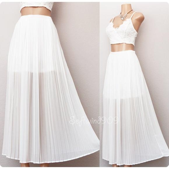 a4ce912d86 Lulumari Skirts | Off White Semi Sheer Chiffon Pleated Long Skirt ...
